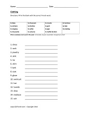 Free Printable French Worksheets at QCFrench.com